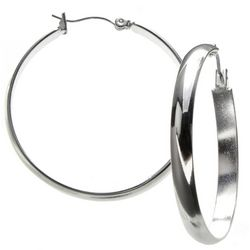 Nine West Silver Tone 1.5 in. Hoop Earrings