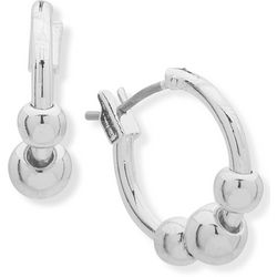 Chaps Silver Tone Bead Click It Hoop Earrings