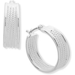 Chaps Silver Tone Textured Hoop Click It Earrings