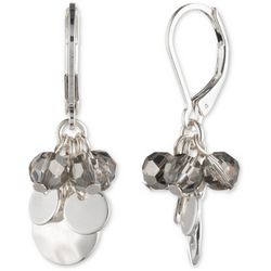 Chaps Silver Tone Shaky Bead Cluster Dangle Earrings