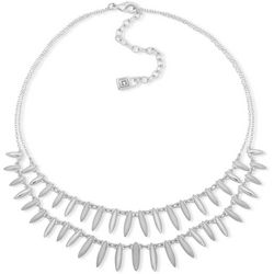 Chaps 2 Row Silver Tone Shaky Front Necklace