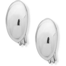 Chaps Silver Tone Domed Oval Clip On Earrings