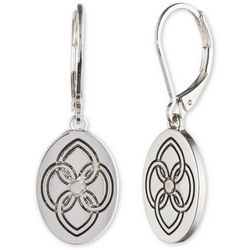 Chaps Silver Tone Engraved Design Oval Earrings