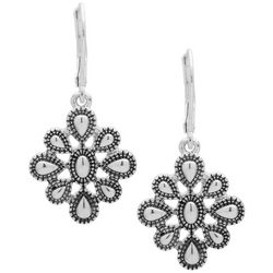Chaps Silver Tone Flower Drop Leverback Earrings