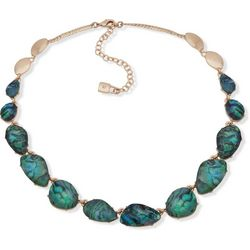 Chaps Gold Tone Abalone Stone Station Collar Necklace