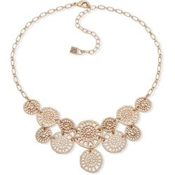 Chaps Gold Tone Cutout Discs Front Necklace