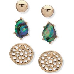 Chaps Gold Tone Blue Abalone Stud Earring Set