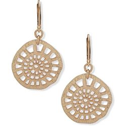 Chaps Gold Tone Large Cutout Disc Drop Earrings