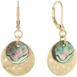 Chaps Gold Tone Abalone Shell Layered Disc Drop Earrings