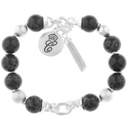 Chaps Silver Tone & Black Beaded Stretch Bracelet