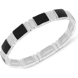 Chaps Silver Tone & Black Stretch Bracelet