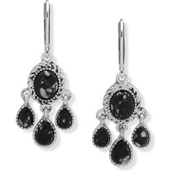 Chaps Silver Tone Jet Black Chandelier Earrings