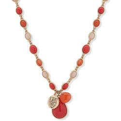 Chaps Coral Orange & Pink Beaded Teardrop Pendant Necklace