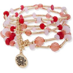 Chaps Gold Tone Multi Row Coral Pink Beaded Stretch Bracelet