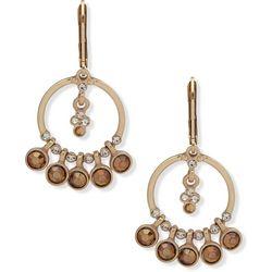 Chaps Gold Tone Shaky Orbital Drop Earrings
