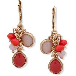 Chaps Coral Bead Gold Tone Cluster Earrings