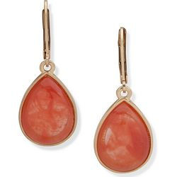 Chaps Coral Stone Gold Tone Teardrop Earrings