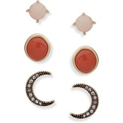 Chaps 3-pc. Gold Tone Moon & Stone Stud Earring Set