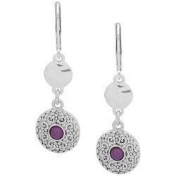 Chaps Purple & Silver Tone Double Drop Leverback Earrings