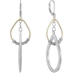 Chaps Two Tone Double Teardrop Leverback Earrings