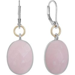 Chaps Rose Pink Stone Drop Leverback Earrings