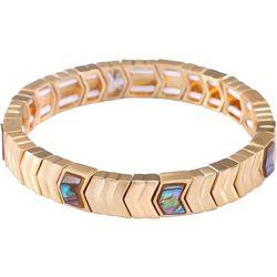 Chaps Gold Tone Abalone Shell Stretch Bracelet