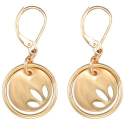 Chaps Gold Tone Layered Cutout Drop Disc Earrings