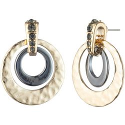 Chaps Hammered Ring Two Tone Doorknocker Earrings