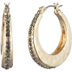 Chaps Rhinestone Gold Tone Hammered Hoop Earrings