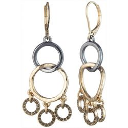 Chaps Two Tone Multi Ring Dangle Earrings