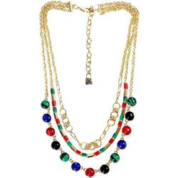 Chaps Multi Row Jewel Tone Frontal Swag Necklace