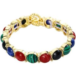 Chaps Multi Cabochon Jewel Tone Stretch Bracelet