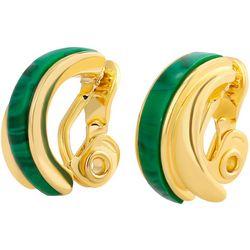 Chaps Green Inlaid Resin Clip Hoop Earrings