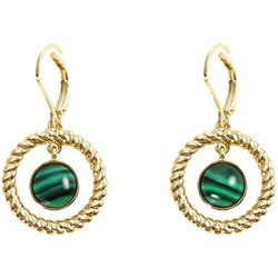 Chaps Rope Textured Ring & Green Cabochon Earrings