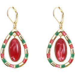 Chaps Red & Green Orbital Teardrop Earrings