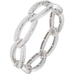 Chaps Silver Tone Hammered Link Stretch Bracelet