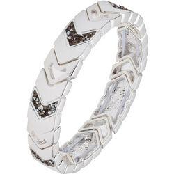 Chaps Silver Tone Chevron Link Stretch Bracelet