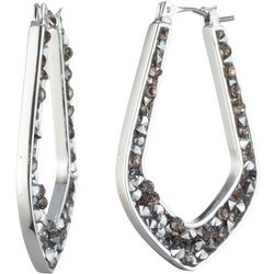 Chaps Crystal Inlaid Pointed Hoop Earrings