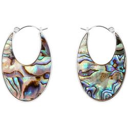Chaps Worn Silver & Abalone Shell Hoop Earrings