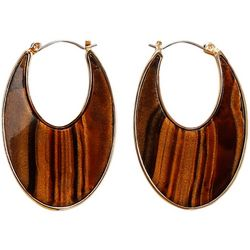 Chaps Brown Resin Flat Hoop Earrings