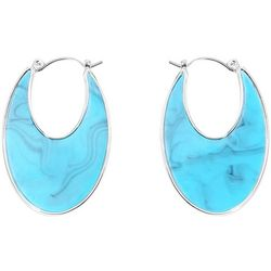 Chaps Turquoise Blue Resin Flat Hoop Earrings