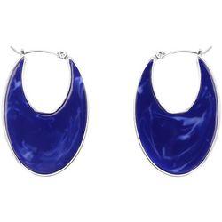 Chaps Blue Marble Resin Flat Hoop Earrings