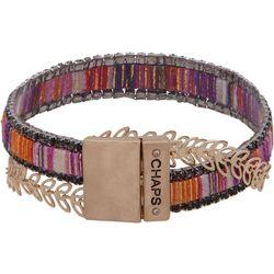 Chaps Multi Rhinestone & Leaf Chain Bracelet