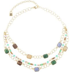 Chaps Gold Tone Multi-Row Beaded Collar Necklace