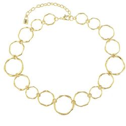 Chaps Gold Tone Open Circle Collar Necklace