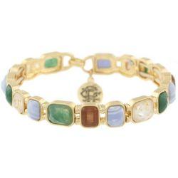 Chaps Gold Tone Rectangular Stone Stretch Bracelet