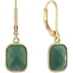 Chaps Multi-Faceted Green Leverback Earrings