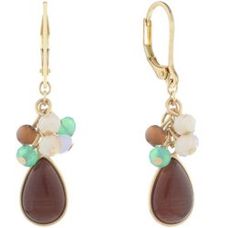 Chaps Gold Tone Brown Beaded Cluster Drop Earrings