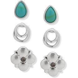 Chaps Silver Tone Flower Stud Earring Set