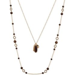 Chaps Gold Tone Double Row Brown Beaded Necklace